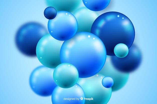Niebieskie Tło Realistyczne Płynący Błyszczący Kulki Darmowych Wektorów