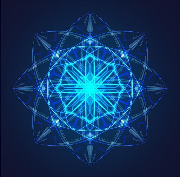Niebieskie Tło Schematu świecącego Atomu Premium Wektorów