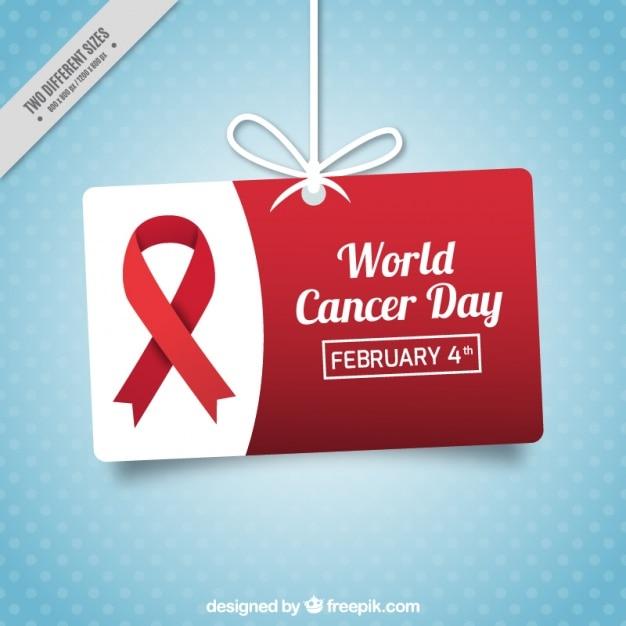 Niebieskie tło z przerywana etykiety wiszące na dzień raka świecie Darmowych Wektorów
