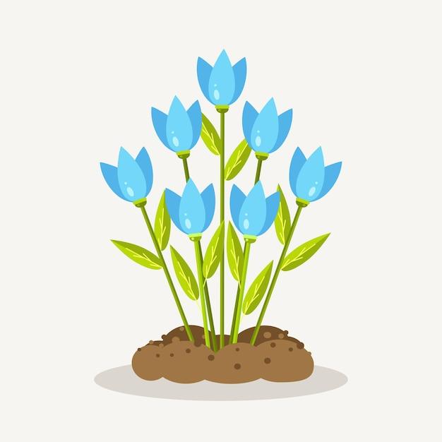 Niebieskie Tulipany Z Kupą Ziemi, Ziemi. Ogrodnictwo, Sadzenie Kwiatów. Wiosna Premium Wektorów
