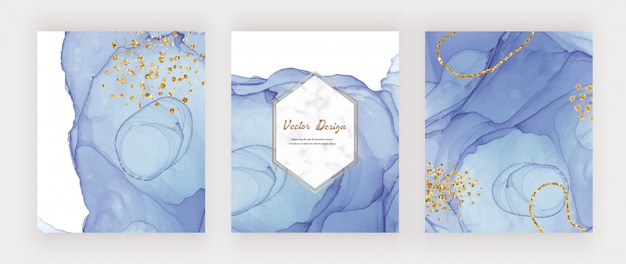 Niebieskie Tusz Alkoholowy Obejmuje Złote Konfetti I Marmurową Ramkę. Streszczenie Ręcznie Malowany Projekt Akwarela Premium Wektorów
