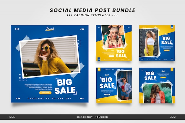 Niebieskie Z żółtymi Minimalistycznymi Modnymi Szablonami Mediów Społecznościowych Z Taśmą Premium Wektorów