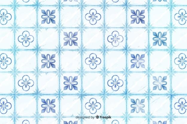 Niebieskim tle eleganckiej mozaiki akwarela Darmowych Wektorów