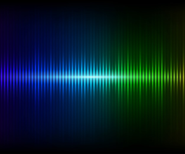 Niebiesko-zielony cyfrowy błyszczący korektor. ilustracja wektorowa z efektami świetlnymi na ciemnym tle Premium Wektorów