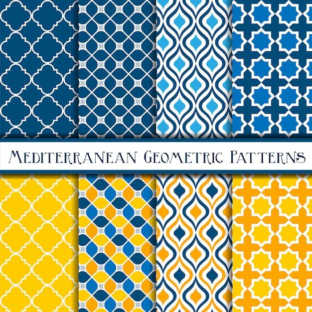 Niebiesko-żółta kolekcja geometrycznych wzorów śródziemnomorskich bez szwu Premium Wektorów
