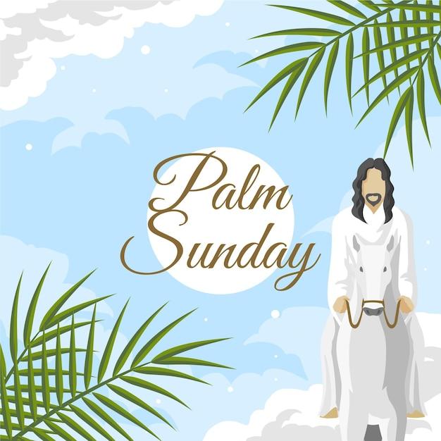 Niedziela Palmowa Ilustracja Z Jezusem I Osłem Darmowych Wektorów