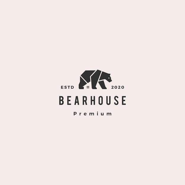 Niedźwiadkowego domowego loga modnisia rocznika ikony retro ilustracja Premium Wektorów