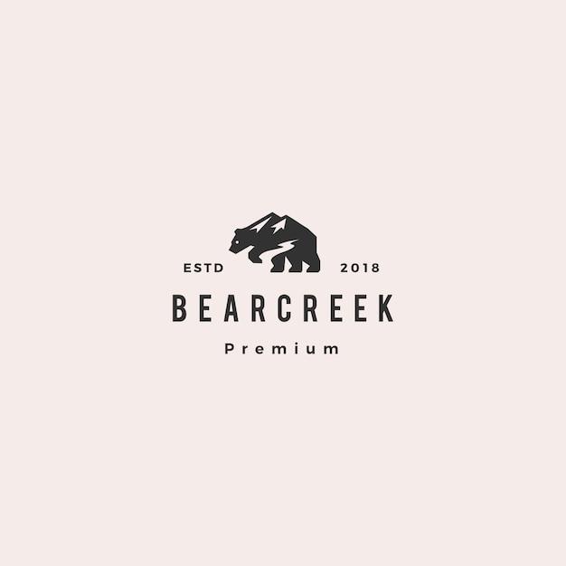 Niedźwiedź creek zamontować logo hipster retro vintage Premium Wektorów