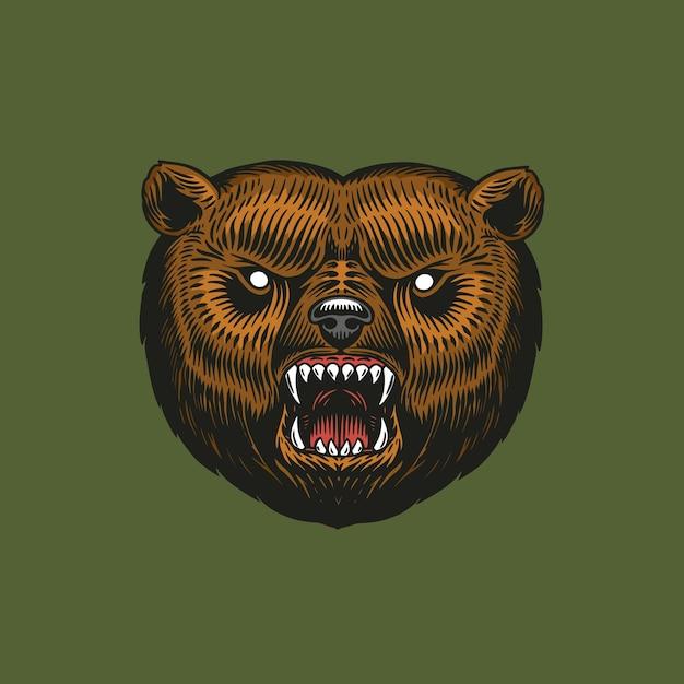 Niedźwiedź Grizzly, Dzikie Zwierzę. Vintage Styl Monochromatyczny. Premium Wektorów
