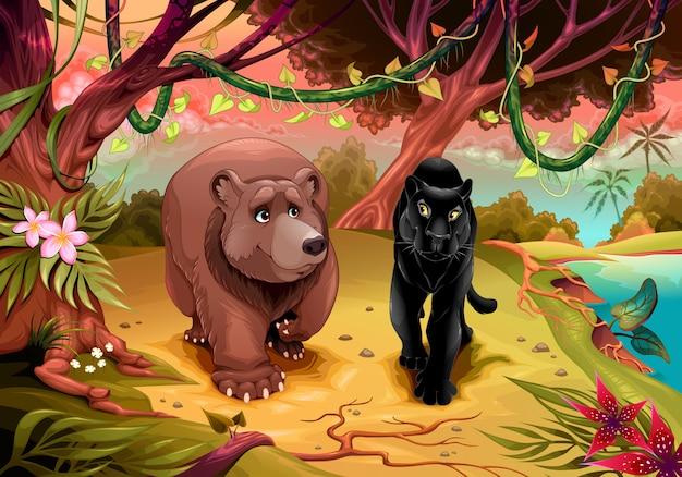 Niedźwiedź i czarna pantera idą razem w lesie Premium Wektorów