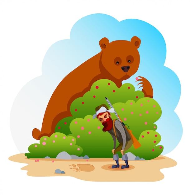 Niedźwiedź I Myśliwy. Premium Wektorów