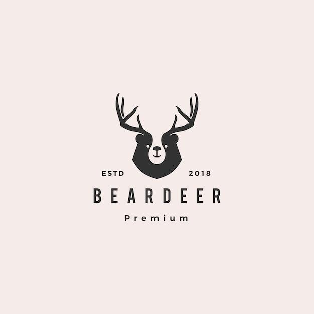 Niedźwiedź Jeleń Logo Hipster Retro Vintage Na Branding Lub Towar I Projekt Koszulki Premium Wektorów