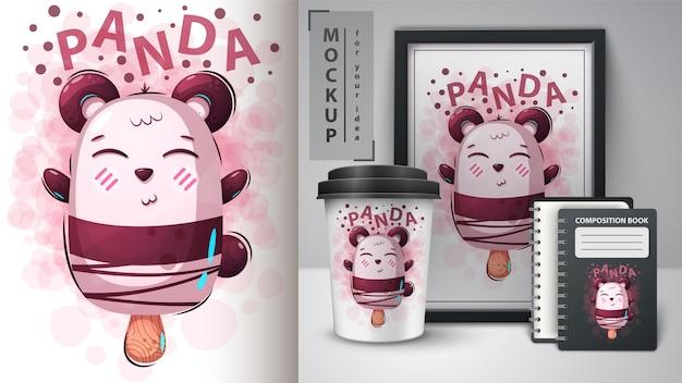 Niedźwiedź, Lody Panda Premium Wektorów