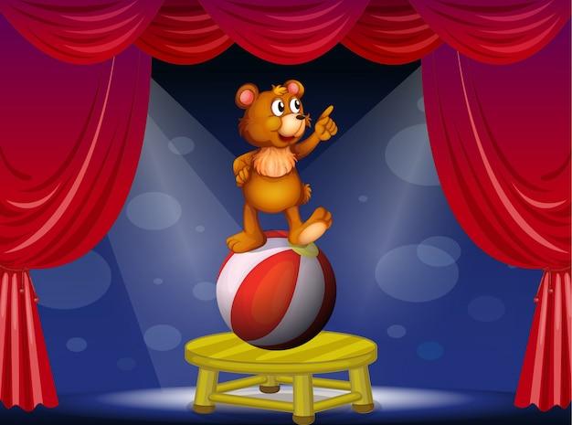 Niedźwiedź na pokazie cyrkowym Darmowych Wektorów