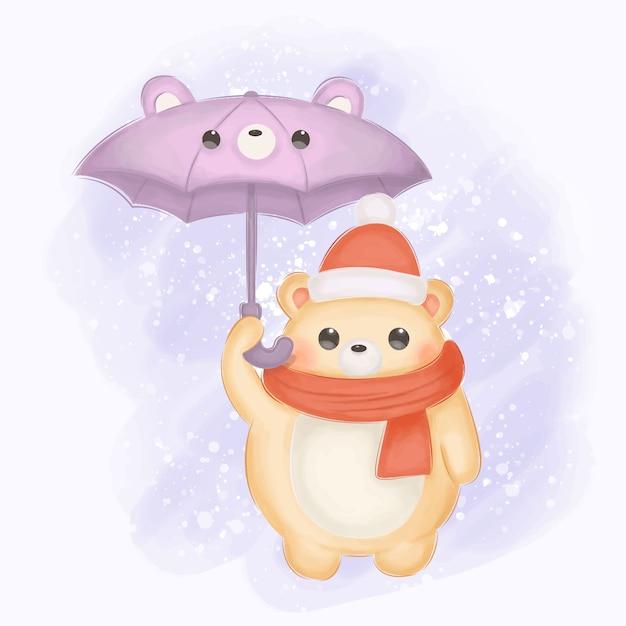Niedźwiedź Niemowlęcy Z Parasolem Ilustracji Do Dekoracji Przedszkola Premium Wektorów