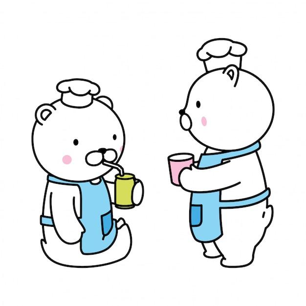 Niedźwiedź Polarny Pije Szefa Kuchni Premium Wektorów