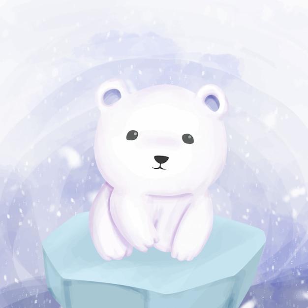 Niedźwiedź polarny stojący nad lodem Premium Wektorów