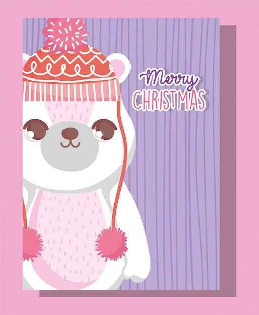 Niedźwiedź Polarny Wesołych świąt Premium Wektorów