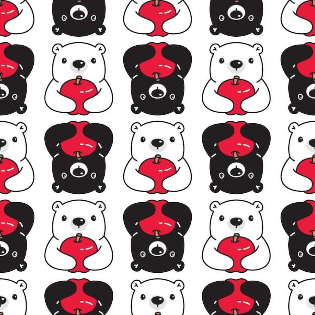 Niedźwiedź Polarny Wzór Jabłko Kreskówka Premium Wektorów