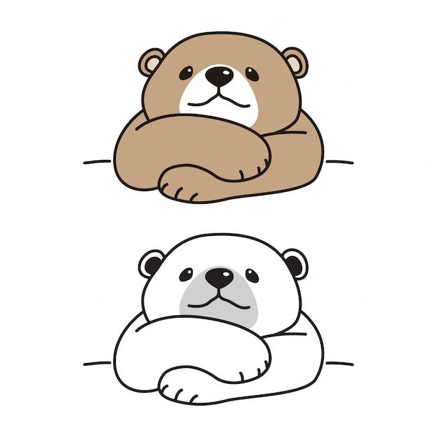 Niedźwiedź Wektor Polarny Kreskówka Premium Wektorów