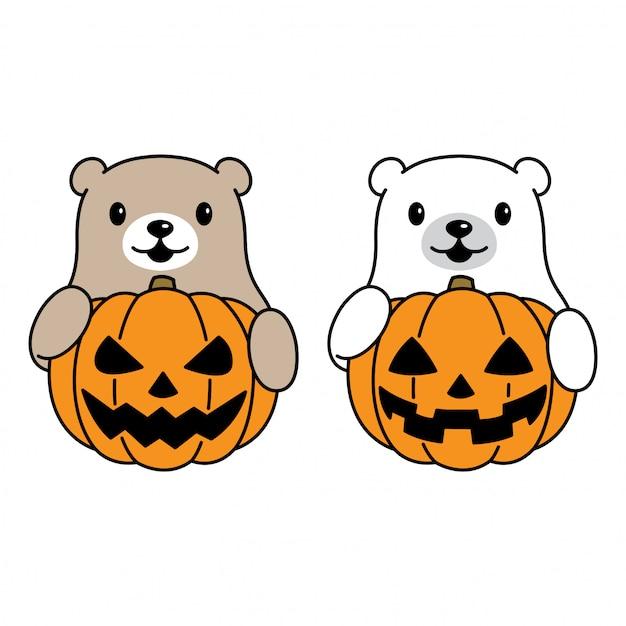 Niedźwiedź Z Dyni Halloween Premium Wektorów