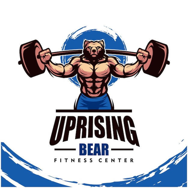 Niedźwiedź Z Mocnym Ciałem, Logo Klubu Fitness Lub Siłowni. Premium Wektorów