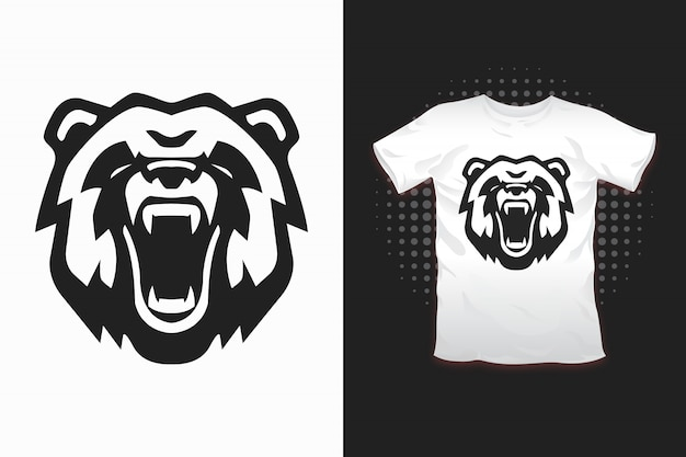 Niedźwiedź Z Nadrukiem Na Koszulkę Premium Wektorów