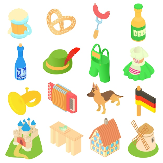 Niemcy Ikony Ustaw W Izometryczny Styl 3d Premium Wektorów