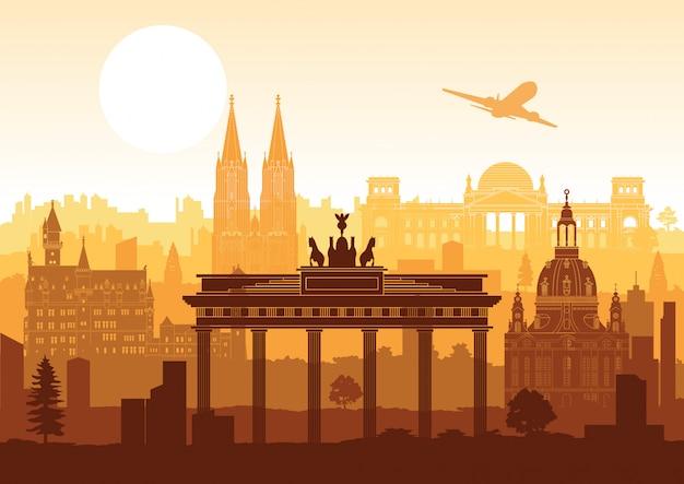 Niemcy Sławny Punkt Orientacyjny Premium Wektorów