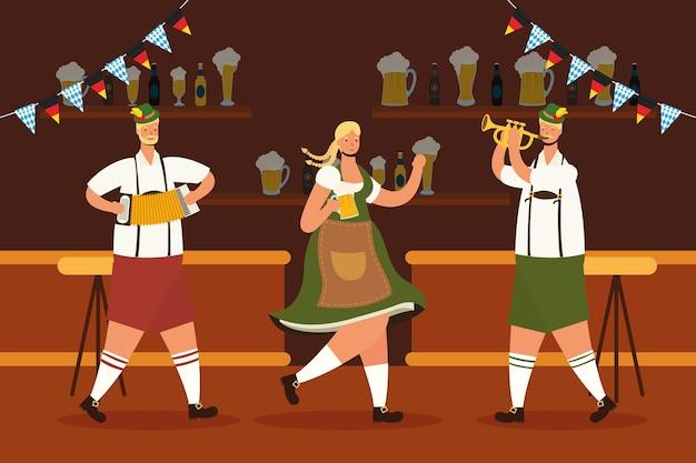 Niemcy W Tyrolskim Garniturze Piją Piwo I Grają Na Instrumentach W Barowym Wektorowym Ilustracji Premium Wektorów