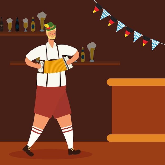 Niemiecki Mężczyzna Ubrany W Tyrolski Garnitur Gra Na Akordeonie Wektor Ilustracja Projekt Premium Wektorów