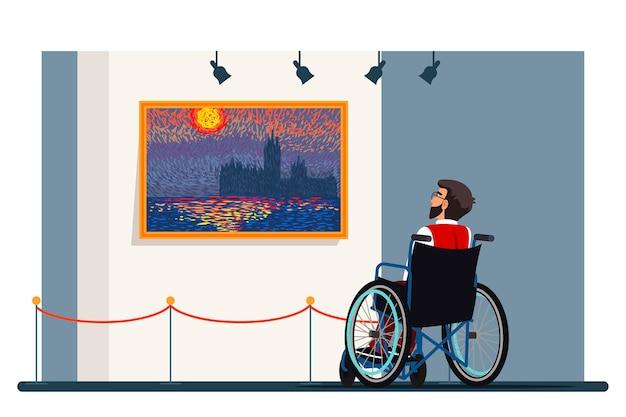 Niepełnosprawny Mężczyzna Na Wózku Inwalidzkim Zwiedzanie Galerii Sztuki, Wystawa Puentylizmu, środowisko Kulturalne Dla Osób Ze Specjalnymi Potrzebami Premium Wektorów