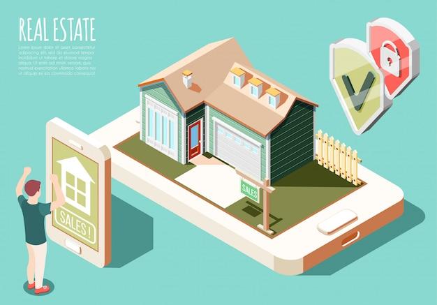 Nieruchomość Zwiększał Rzeczywistości Isometric Tło Z Reklamą Online I Mężczyzna Kupienia Domu Ilustracją Darmowych Wektorów