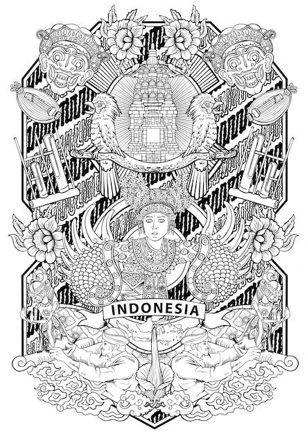 Niesamowita Kultura Indonezji W Zabytkowej Ramce Premium Wektorów