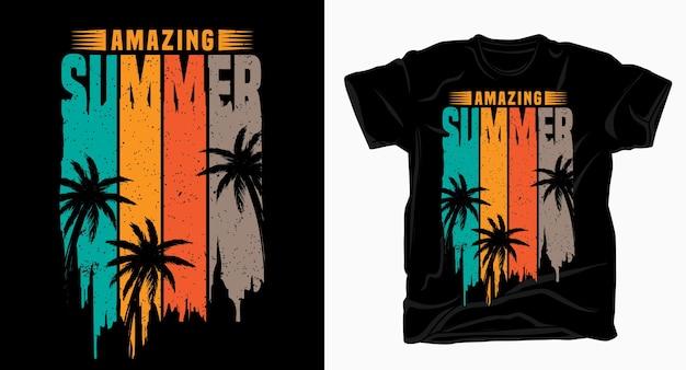 Niesamowita Letnia Typografia Do Projektowania Koszulek Premium Wektorów