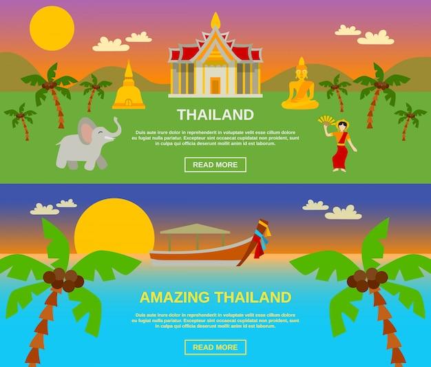 Niesamowite banery tajlandii zestaw Darmowych Wektorów