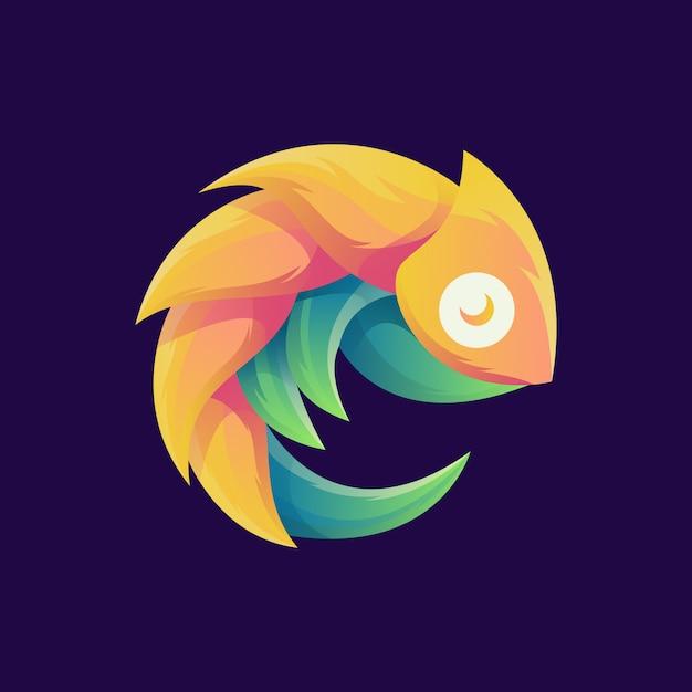 Niesamowite kolorowe logo kameleona Premium Wektorów