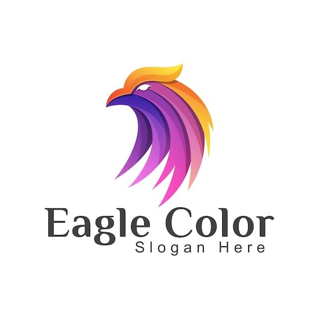 Niesamowite Kolorowe Logo Orła Lub Feniksa. Jastrząb Szablon Logo Gradientu Zwierząt Premium Wektorów