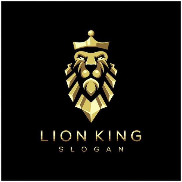Niesamowite Lew Król Logo Wektor Ilustracja Premium Wektorów