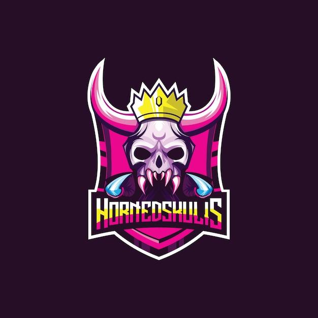 Niesamowite logo esport do gry. głowa czaszki demona z rogami Premium Wektorów