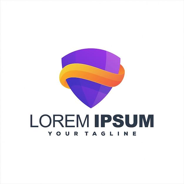 Niesamowite Logo Gradientowe W Kształcie Tarczy Premium Wektorów