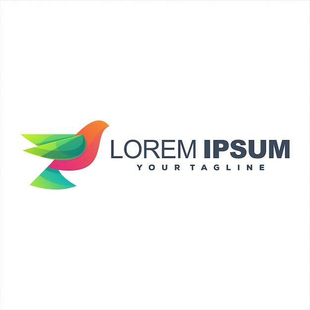 Niesamowite Logo Gradientu Ptaka Premium Wektorów