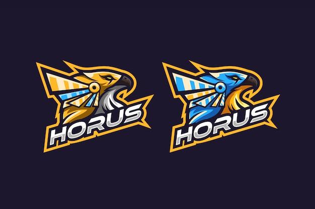 Niesamowite logo horusa w kolorze złotym i niebieskim Premium Wektorów