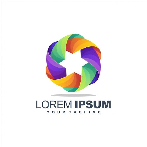 Niesamowite logo lisa gradientowego Premium Wektorów