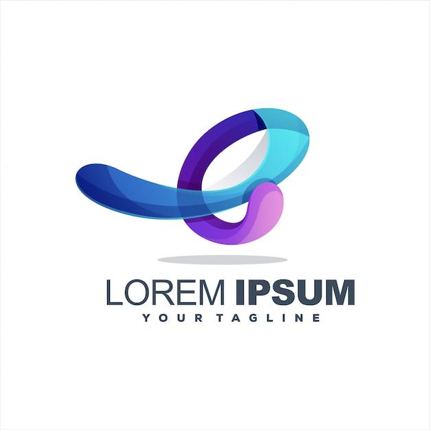 Niesamowite logo litery e Premium Wektorów