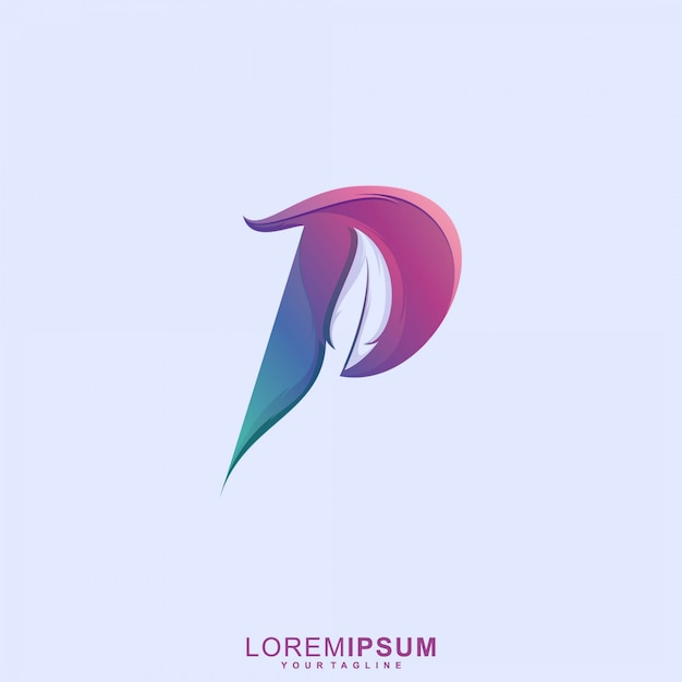 Niesamowite Logo Pióro Litery P. Premium Wektorów