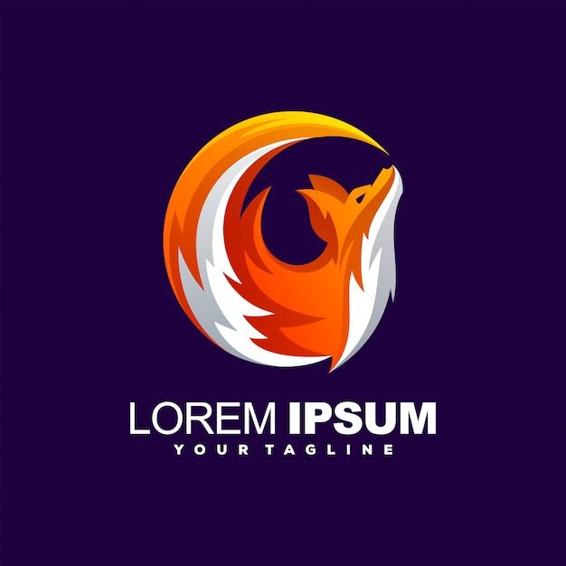Niesamowite logo z gradientem lisa Premium Wektorów