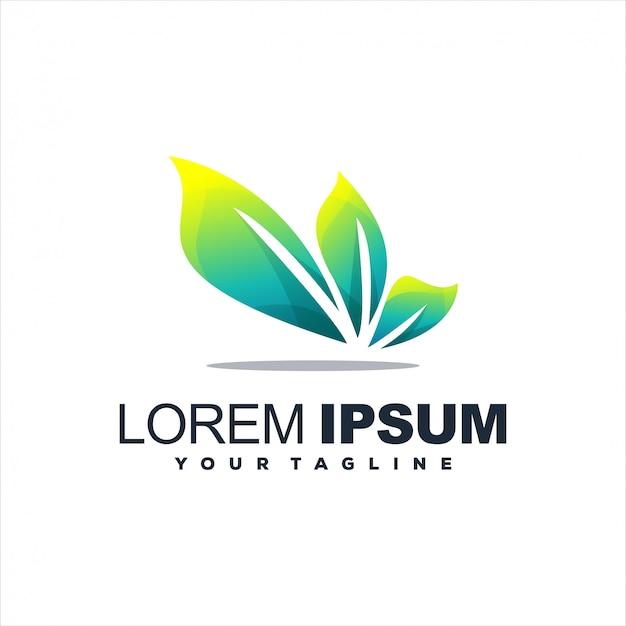 Niesamowite logo z gradientem liści Premium Wektorów