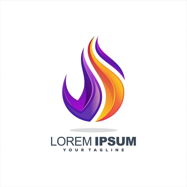 Niesamowite Logo Z Gradientem Płomienia Premium Wektorów