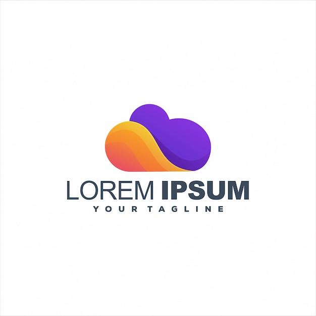 Niesamowite Projektowanie Logo Chmury Gradientu Premium Wektorów
